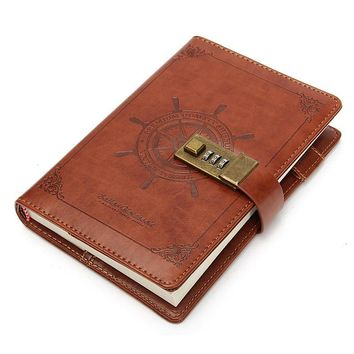 1Pcs Vintage Rudder Brown Leather Journal