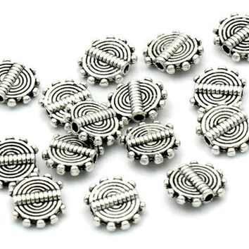 Pack of 50 Flat and Round Silver Metal Spacer Beads. 10mm x 8mm. Ideal For Creating Handmade Earrings, Gifts for Mother's Day and Macrame.