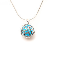 Essential Oil Diffuser Aromatherapy Silver Necklace - Small Round