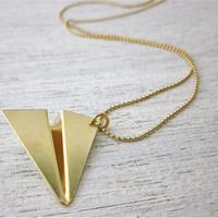 Paper Plane Necklace in Gold,  Japanese origami inspired gold pendant jewelry