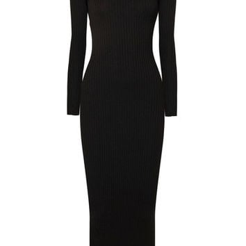 Balmain - Button-detailed ribbed merino wool maxi dress