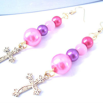 Long Dangle Earrings, Cross Jewelry, Christian Earrings, Faux Pearl Jewelry, Gold Cross Charm