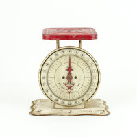 Antique Red and Cream Pelouze Scale /  Industrial Decor