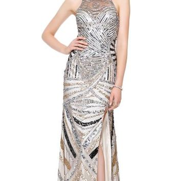 Shail K High Neckline Silver Dress 3515