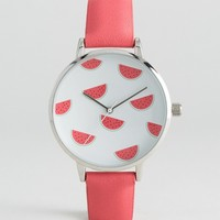 ASOS Watermelon Pink Pastel Watch at asos.com