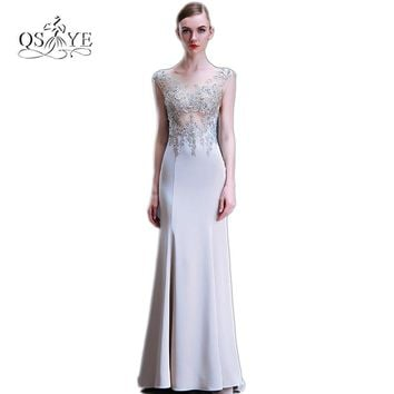 New Sexy Backless Long Mermaid Prom Dresses 2017 Robe de Soiree O-Neck Sleeveless Lace Beaded Evening Dress Formal Party Gown