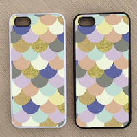 Scalloped Vintage Pattern Glitter iPhone Case, iPhone 5 Case, iPhone 4S Case, iPhone 4 Case - Not Real Glitter- SKU: 211