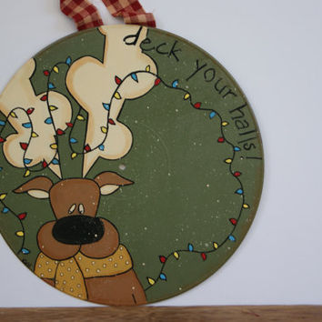 Vinyl Record Reindeer Decor ~ Hand Painted Record Christmas Decoration ~ Christmas Reindeer Decor ~ Deck Your Halls!