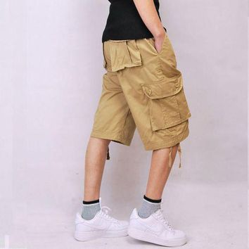 ONETOW Baggy Beige Multi-pocket Khaki Green Men's Cargo Shorts Black Cotton Hip pop Plus Size 30-44 Army Military Combat