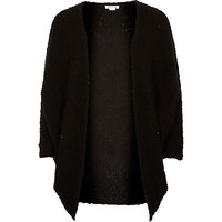 River Island Girl black boucle knit cardigan