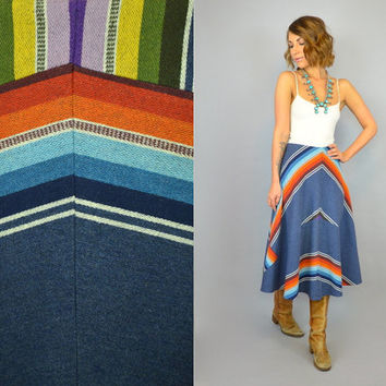 vtg 50s mexican SOUTHWESTERN STRIPE boho hippie ethnic rug high waist SKIRT, small-medium