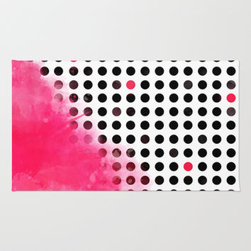Bold Pink Polka Dots Area & Throw Rug by cafelab