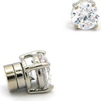 6mm Round Cut Clear Cubic Zirconia 4-Prong Magnetic Stud Earrings in Silver-Tone CZRM-R6