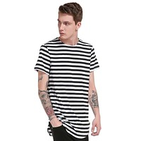 New Summer Striped Shirt Men Casual Brand Clothing High Quality Long section Tees Youth Male Tops Short Sleeve