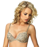 Rumour Smooth Plunge Pushup Bra - Baby Leopard