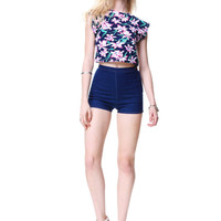 Floral Short Sleeve Cropped Top//  Allover Pink Flowers Print // Colorful Summer Romantic Cute & Delicate Tank// One Size