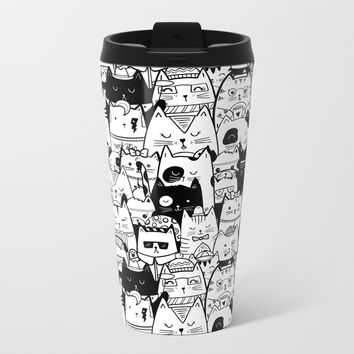 Itty Bitty Kitty Committee Metal Travel Mug by noondaydesign