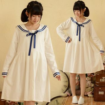Navy blue dress 2017 Mori girls autumn white blue long sleeve sailor collar dress Japanese style school uniform cosplay costumes