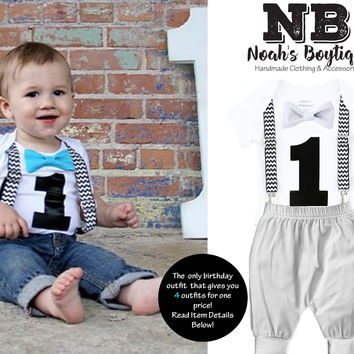 Black Chevron First Birthday Bow Tie Outfit with Grey Pants