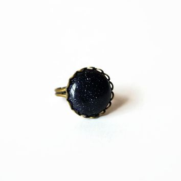 Blue Goldstone Adjustable Cocktail Ring