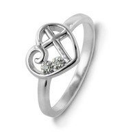 Sterling Silver Diamond Accent Purity Heart & Cross Ring - Size 7