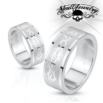 'Tribal Tattoo' Stainless Steel Ring (c074)