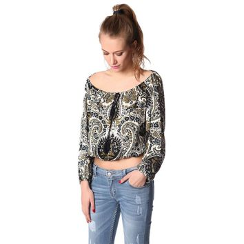 Navy blue abstract printed off the shoulder top