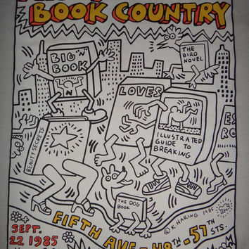 Keith Haring Foundation  New York is a Book Country T Shirt Pop Art Collection Medium