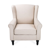 White Fabric Single Sofa Lounge Armchair Chair with Birch Legs
