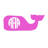 Whale  Monogram Decal for Car, Notebook, Laptop, Water Bottle, Anything!