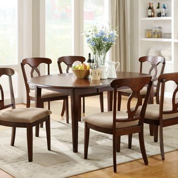 7 pc Liam collection cherry finish wood drop leaf ends oval / round / square dining table set