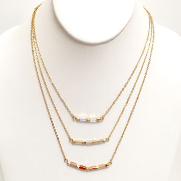 Ombré Bead Layer Necklace In Rust