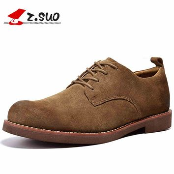 Cow Suede Leather Men Casual Shoes Autumn Fashion Retro Flat Shoes Breathable Soft Lace-up Oxfords Shoes