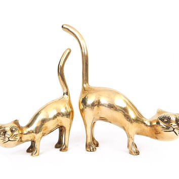 Vintage 60s 70s Brass Cat Statues - Pair of Crouching Kitty Figures