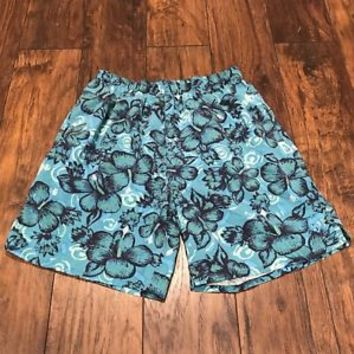 Vintage 1990s 90s Hibiscus Print Aqua Blue Swim Trunks Mens Swimwear Size Medium