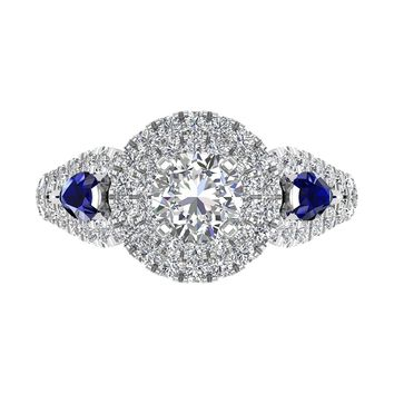 IGI CERTIFIED | 14K Gold Round Cut Diamond & Pear Cut Blue 1.84 Carat Sapphire Engagement Ring (White, Yellow, Rose)