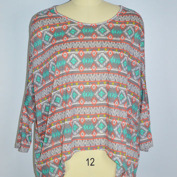 Bellino USA Aztec Print Dolman Top Longer Sides Sz Large