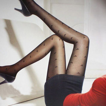 Sexy 2015 New Black Woman Pattern Jacquard Pantyhose Tights Stockings Free Shipping