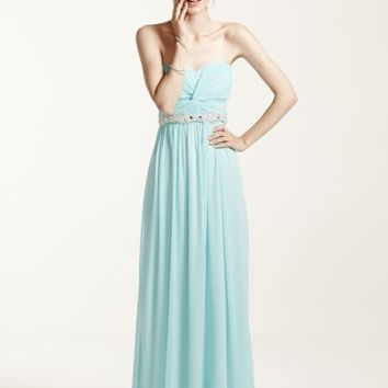 Strapless Prom Dress with Ruched Bust and Beading - Davids Bridal