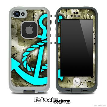 Grungy Vintage Camouflage Print and Turquoise Anchor Skin for the iPhone 5 or 4/4s LifeProof Case