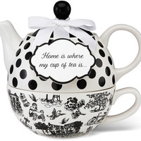 Home is where my cup of tea is. .  Teapot & Cup Set