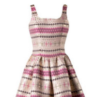 Pink Metallic Skater Cocktail Summer Dress