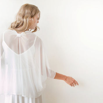 Ivory chiffon shrug, Bridal Cover Up