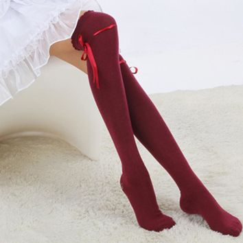 BONJEAN Hot Sale Fashion Womens Bow Over Knee Thigh High Soft Cotton stretch Socks Long Knitted Boot Hosiery Party Vaction Socks