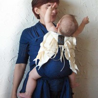 Angel Wings Baby Wrap Sling Pure Indigo Cotton by LiliesOValley