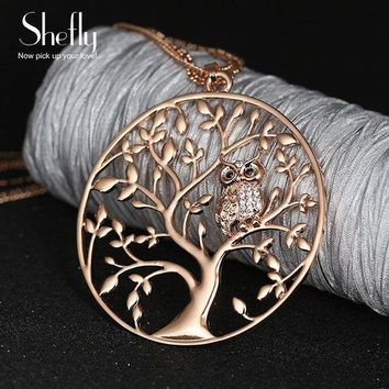 ONETOW owl pendant necklace women tree of life jewelry multilayer chain crystal long necklaces pendants dropshipping