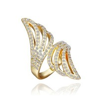 18K Yellow Gold Plated White Swarovski Elements Crystal Double Wings Ring, Size 8