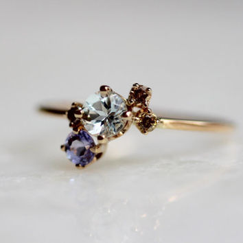 14K Garden Cluster Ring, Aquamarine, Tanzanite, Champagne Diamonds, Mixed Stone Ring, March Birthstone, Rose Gold, Yellow Gold, White Gold