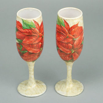 Decoupage wine glasses wedding accessories gifts for wedding tall glasses