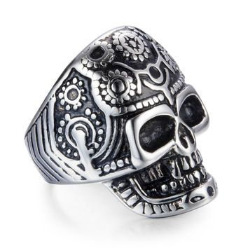 Cool Titanium Stainless Steel Human Skeleton Head Death Squads Skull Mens Male Ring Flower Vintage  Punk For Men Jewelry JZ231